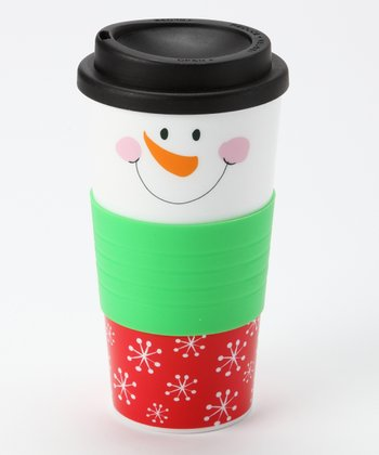 Red & Green Snowflake Snowman Face Tumbler