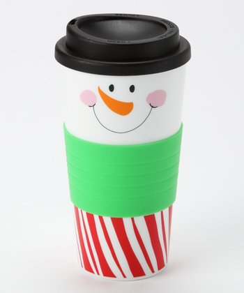 Dennis East International Red & White Stripe Snowman Face Tumbler