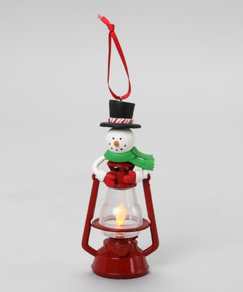 Top Hat & Green Scarf Snowman Lantern Ornament