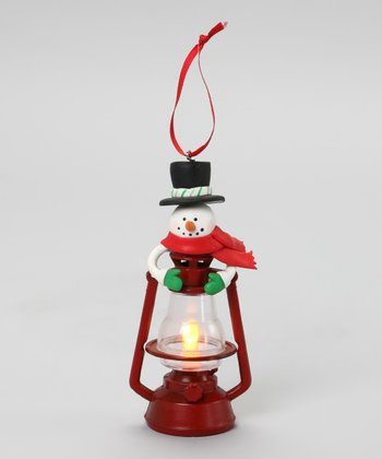 Top Hat & Red Scarf Snowman Lantern Ornament