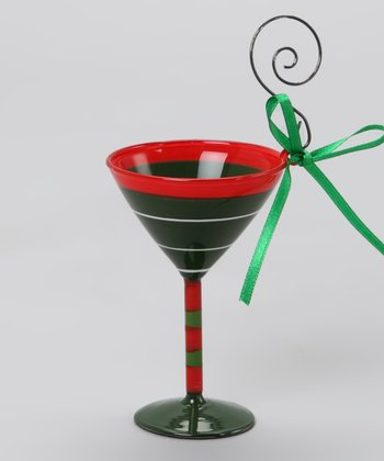 Stripe Martini Glass Ornament