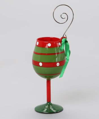 Green & Red Stripe Wine Glass Ornament