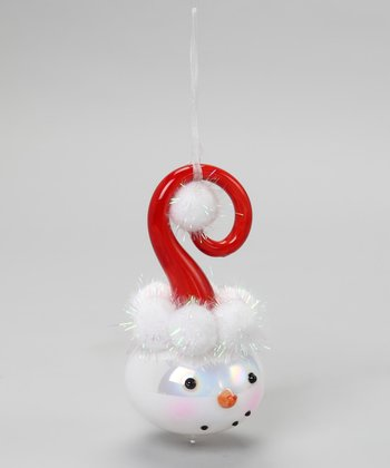 Red Snowman Face Ornament