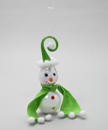 Green Scarf & Hat Twirl Snowman Ornament