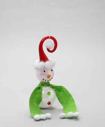 Red Hat & Green Scarf Twirl Snowman Ornament