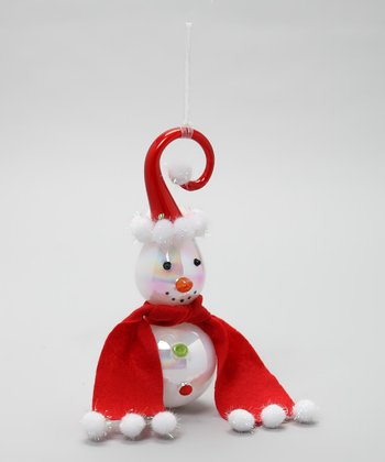 Red Hat & Scarf Twirl Snowman Ornament