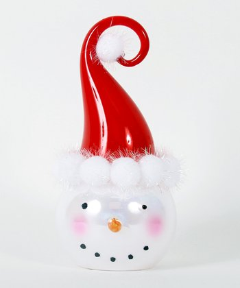 Red Curlicue Hat Snowman Head