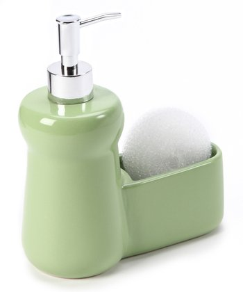 Leaf Green Ceramic Soap Dispenser & Sponge