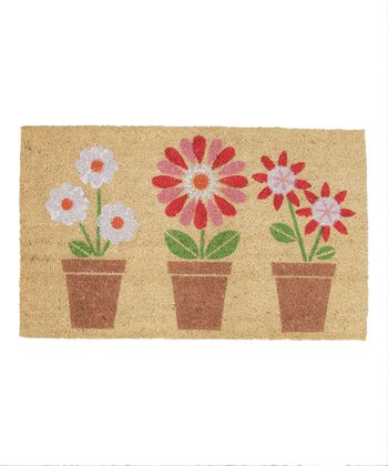 Potted Flower Trio Doormat