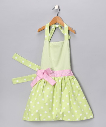Fresh Green Polka Dot Apron - Kids