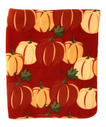 Pumpkin Fleece Throw Blanket