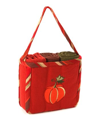 Pumpkin Appliqué Bag & Dish Towel Set