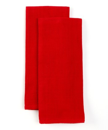 Design Imports Red Waffle Dish Towel - Set of Two