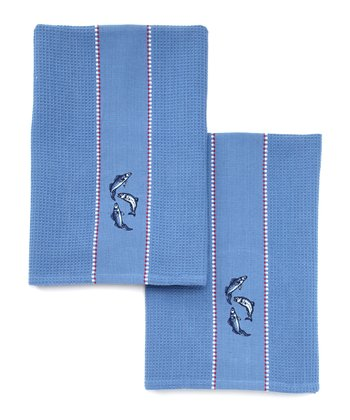 Fish Embroidered Dish Towel - Set of Two
