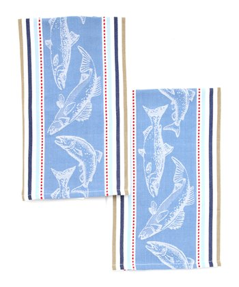 Fish Jacquard Dish Towel - Set of Two