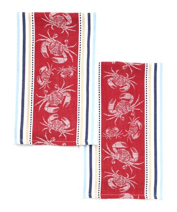 Crab Jacquard Dish Towel - Set of Two