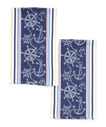 Anchor Jacquard Dish Towel - Set of Two