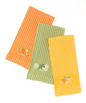 Citrus Blossom Embroidered Dish Towel Set