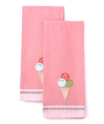 Ice Cream Cone Dish Towel - Set of Two