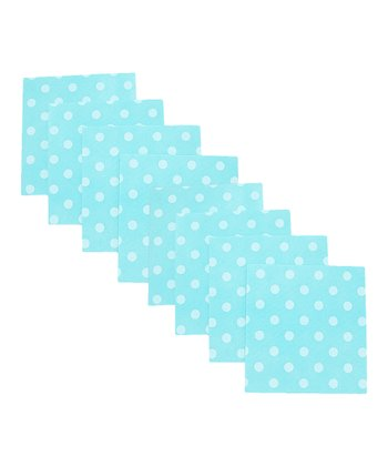 Aqua Polka Dot Cleaning Cloth - Set of Eight