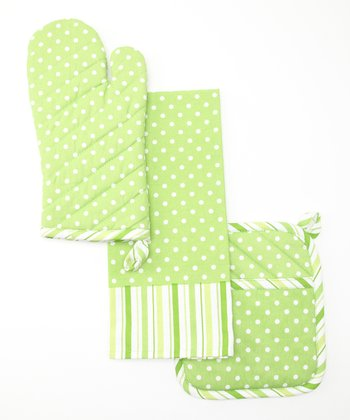 Green Polka Dot & Stripe Pot Holder Set
