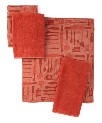 Spicy Orange Utensils Microfiber Bar Mop Set
