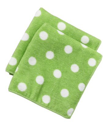 Design Imports Lime Polka Dot Microfiber Dishcloth - Set of Two