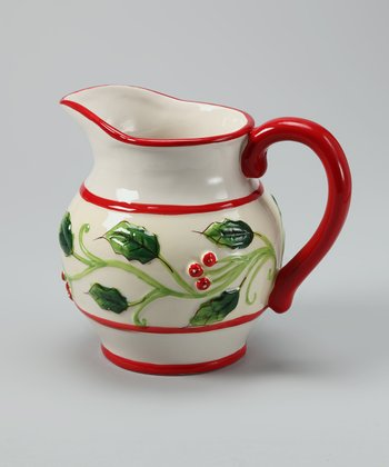 Design Imports Red & Green Holly Pitcher