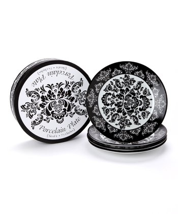 Black Damask Plate - Set of Four