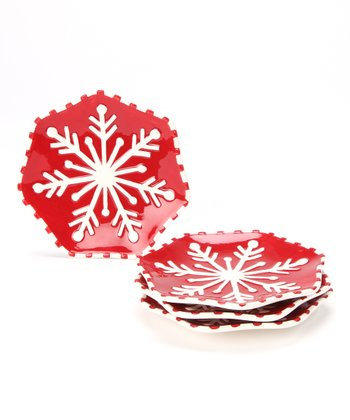 Design Imports Snowflake Plate - Set of Four