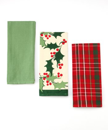 Design Imports Boughs of Holly Dish Towel Set