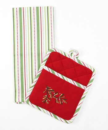 Holiday Sprig Pot Holder & Dish Towel