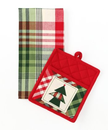 Design Imports Cozy Christmas Pot Holder & Dish Towel