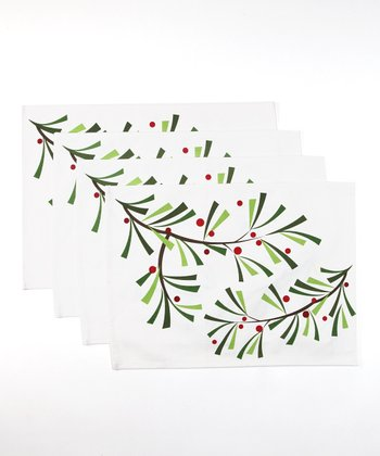 Design Imports Holiday Sprig Place Mat - Set of Four