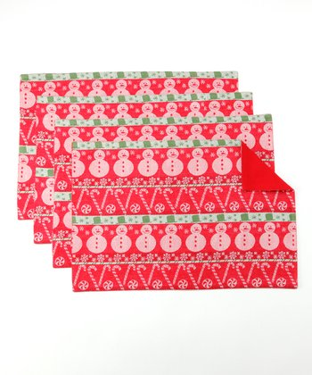 Design Imports Candy Cane Lane Place Mat - Set of Four