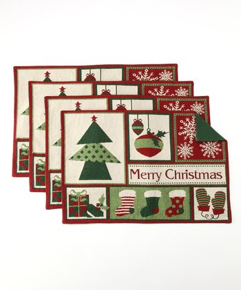 Design Imports Merry Christmas Tapestry Place Mat - Set of Four
