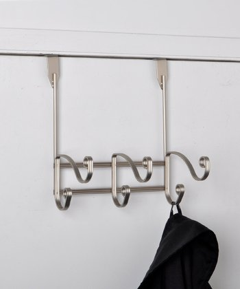 Satin Finish Swirl Over-Door Hook Rack