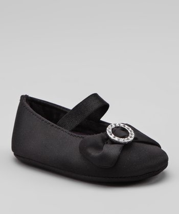 Black Satin Soft-Sole Flat