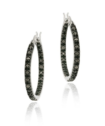 Black Diamond & Sterling Silver Hoop Earrings