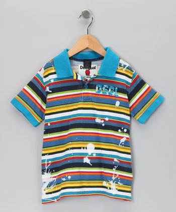 Aqua Coral Polo - Toddler & Boys