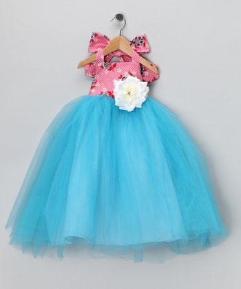 Pink & Blue Halter Dress - Toddler & Girls