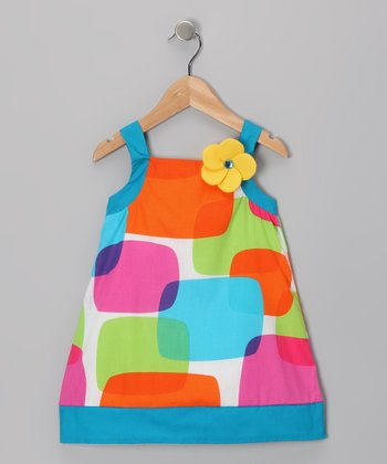 Blue & Orange Shapes Dress - Girls