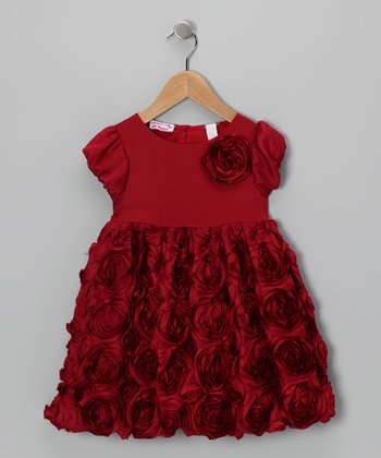 Burgundy Rosette Dress - Toddler