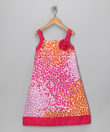 Orange & Pink Floral Dress - Toddler