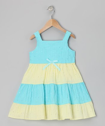Yellow & Blue Stripe Sequin Dress - Toddler
