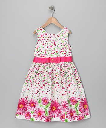 White & Pink Floral Dress - Toddler