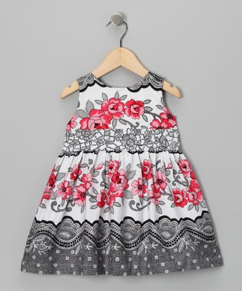 Gray & Pink Floral Dress - Infant