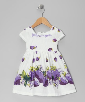 Di Vani White & Purple Strawberry Dress - Toddler & Girls