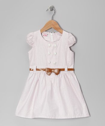 Light Pink Stripe Shirt Dress - Toddler & Girls