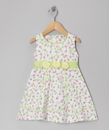 Green & Pink Floral Dress - Girls